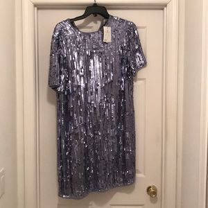 Full blue/silver sequin mini dress. NWT.